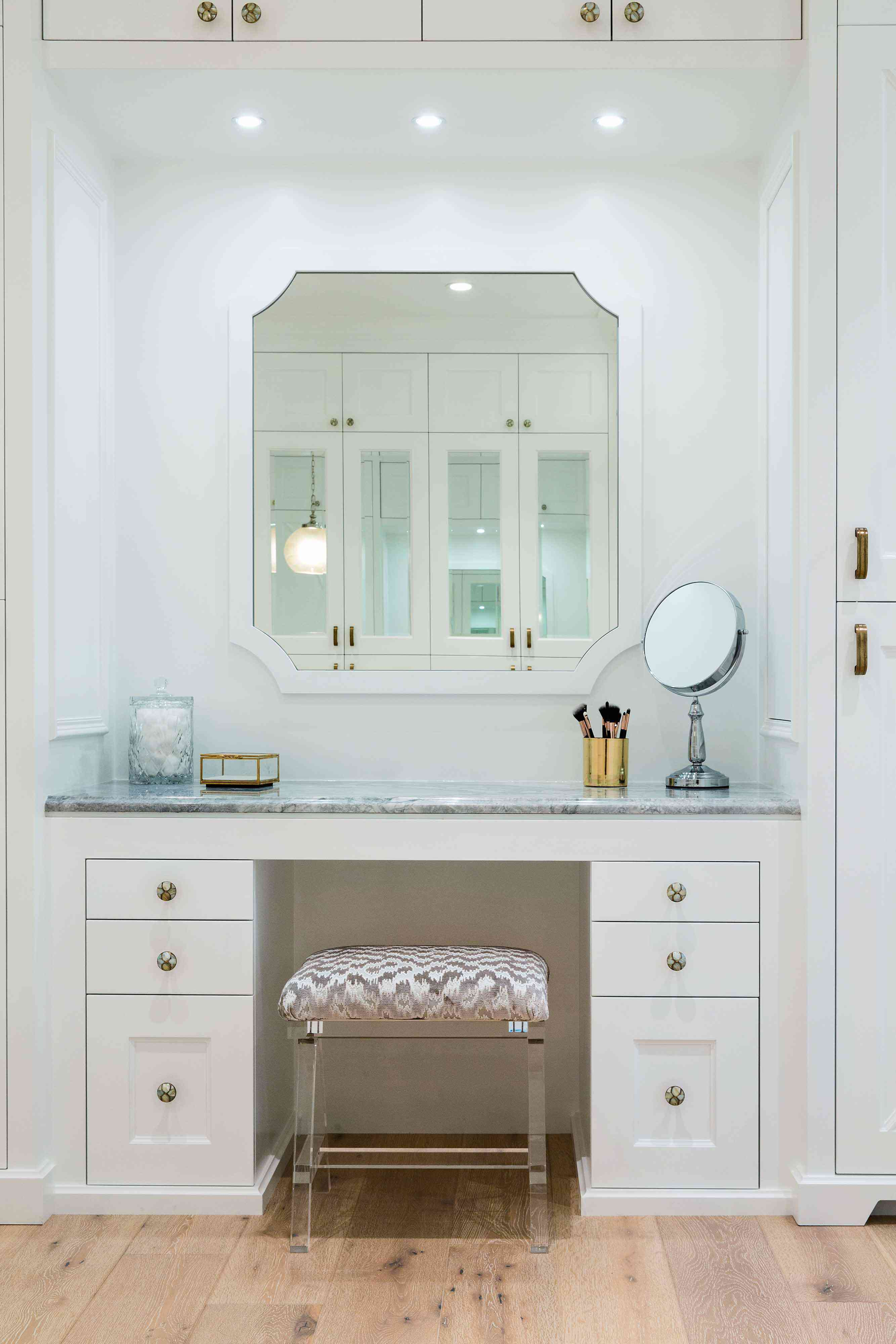 Vanity station in a walk-in closet