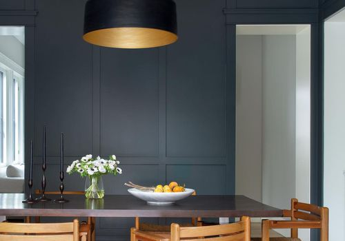 Dining room with gray walls