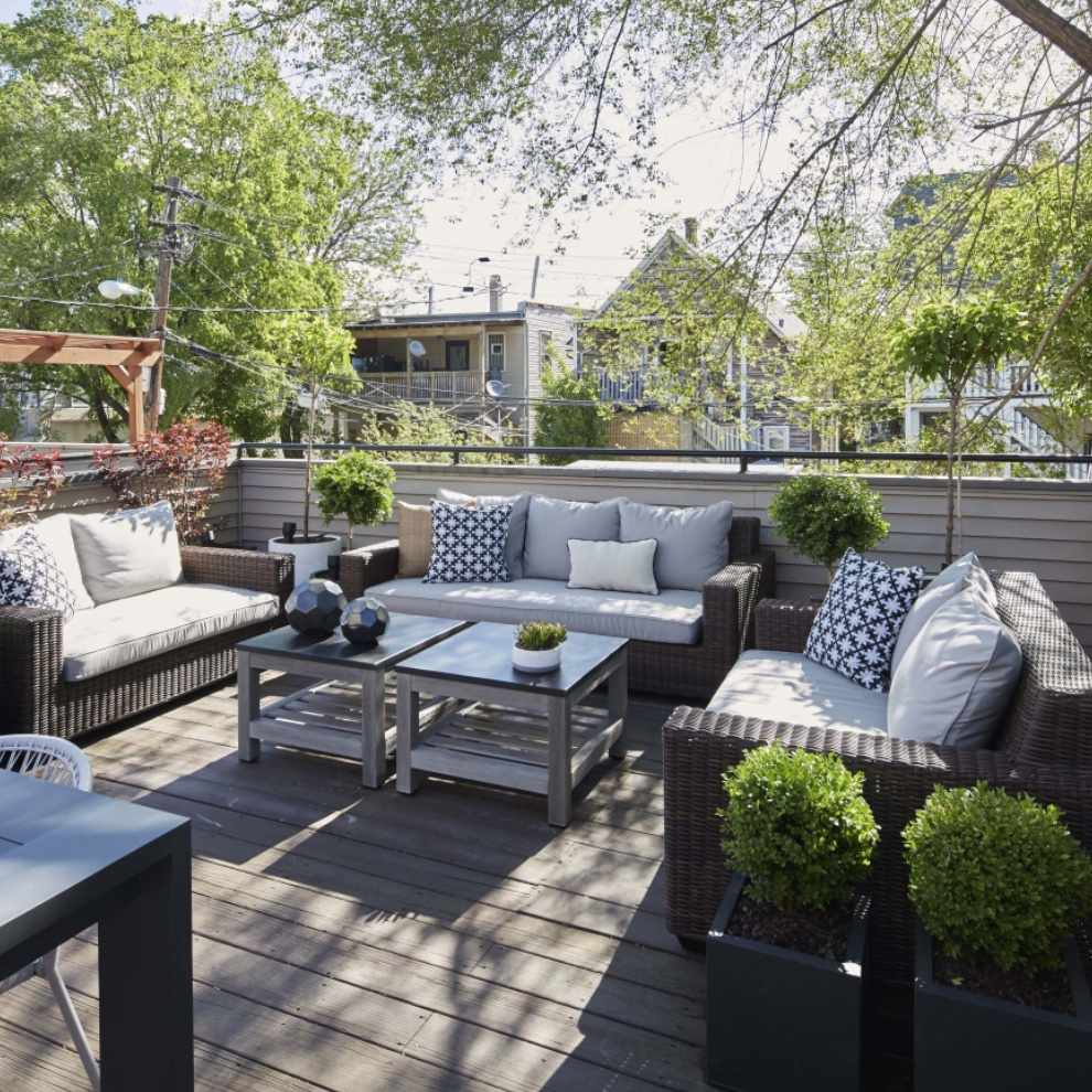 apartment patio with lots of seating