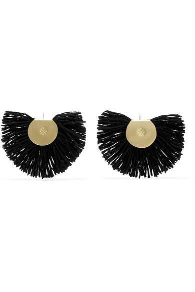 Fan Fringed Gold-tone Earrings