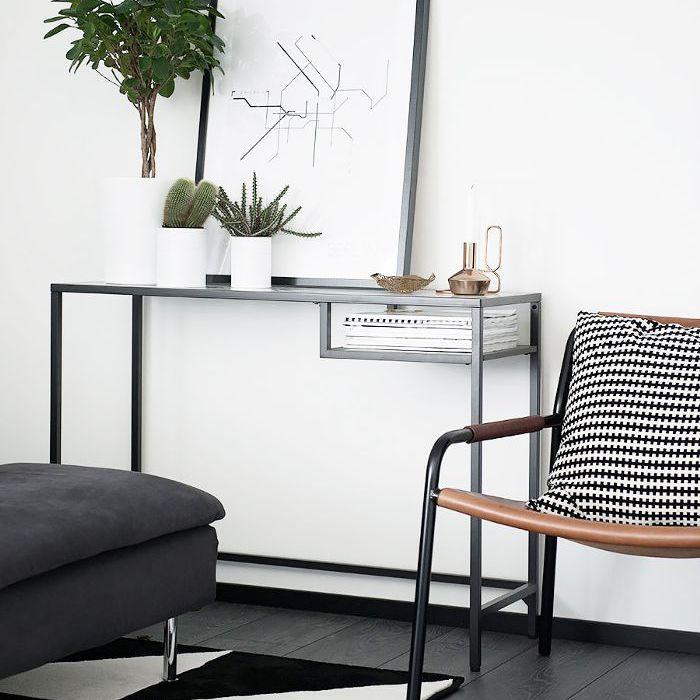 a living room with an IKEA rug