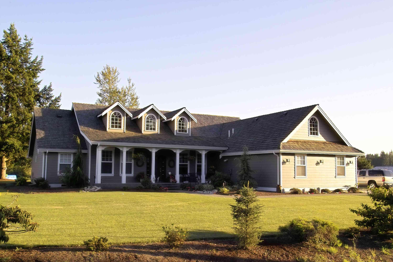 Suburban ranch home exterior.