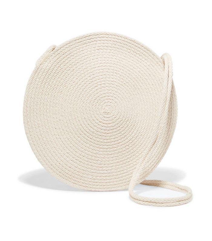 Circle Woven Cotton Shoulder Bag