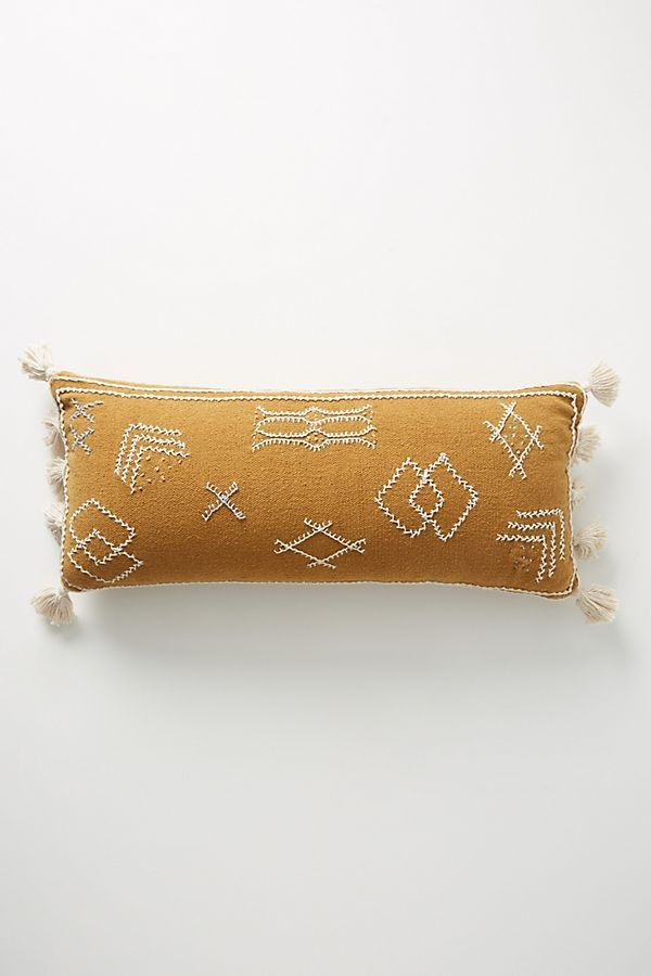 Joanna Gaines for Anthropologie Embroidered Sadie Pillow in Ochre