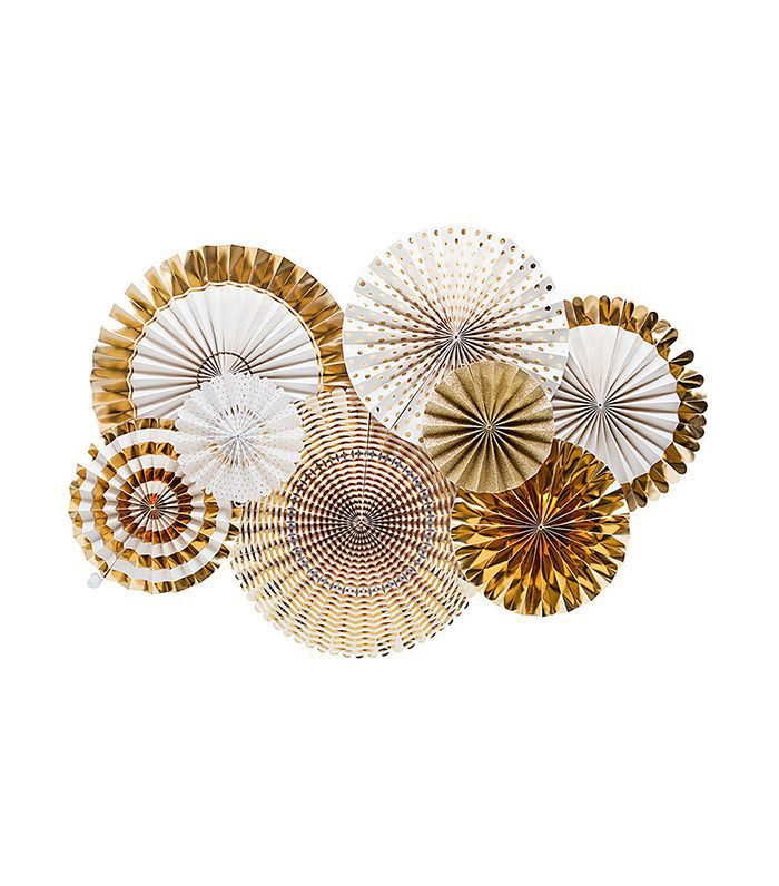 Glitter and Gold Party Fans Rosettes