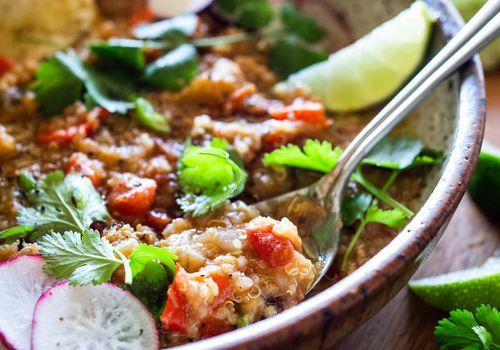 Moroccan lentil quinoa soup