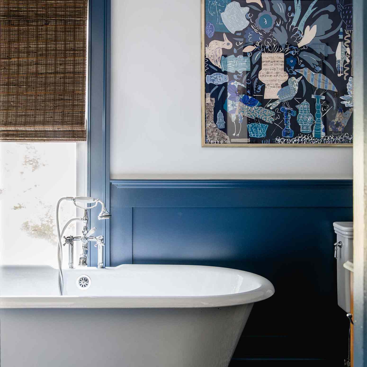 Bright blue bathroom with historic charm