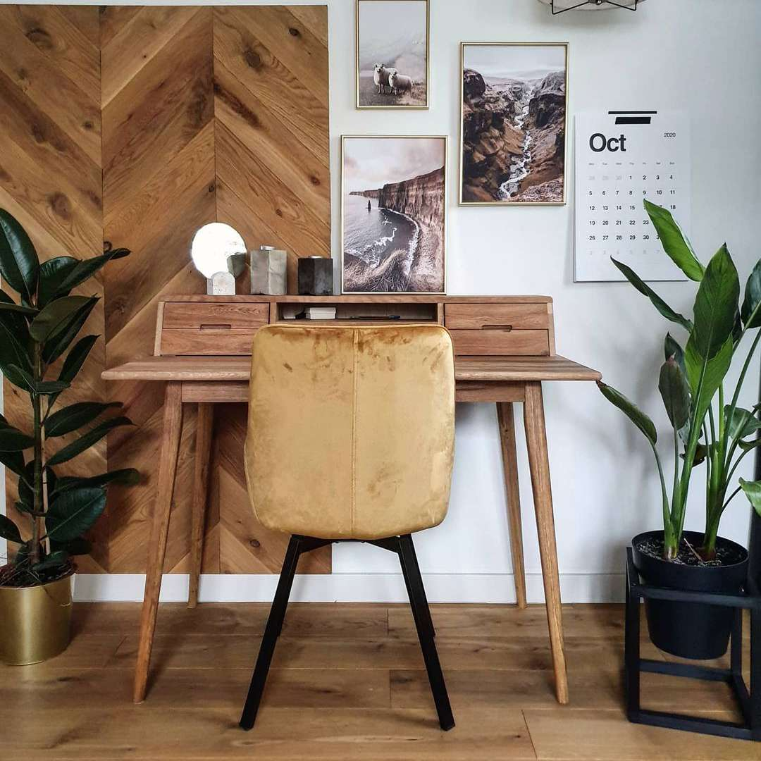 Desk with chevron wood wall