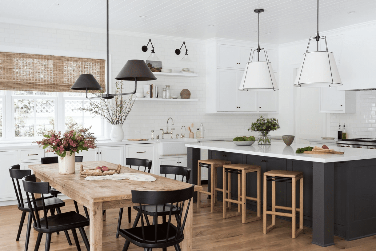Kitchen with wood accents and gray island