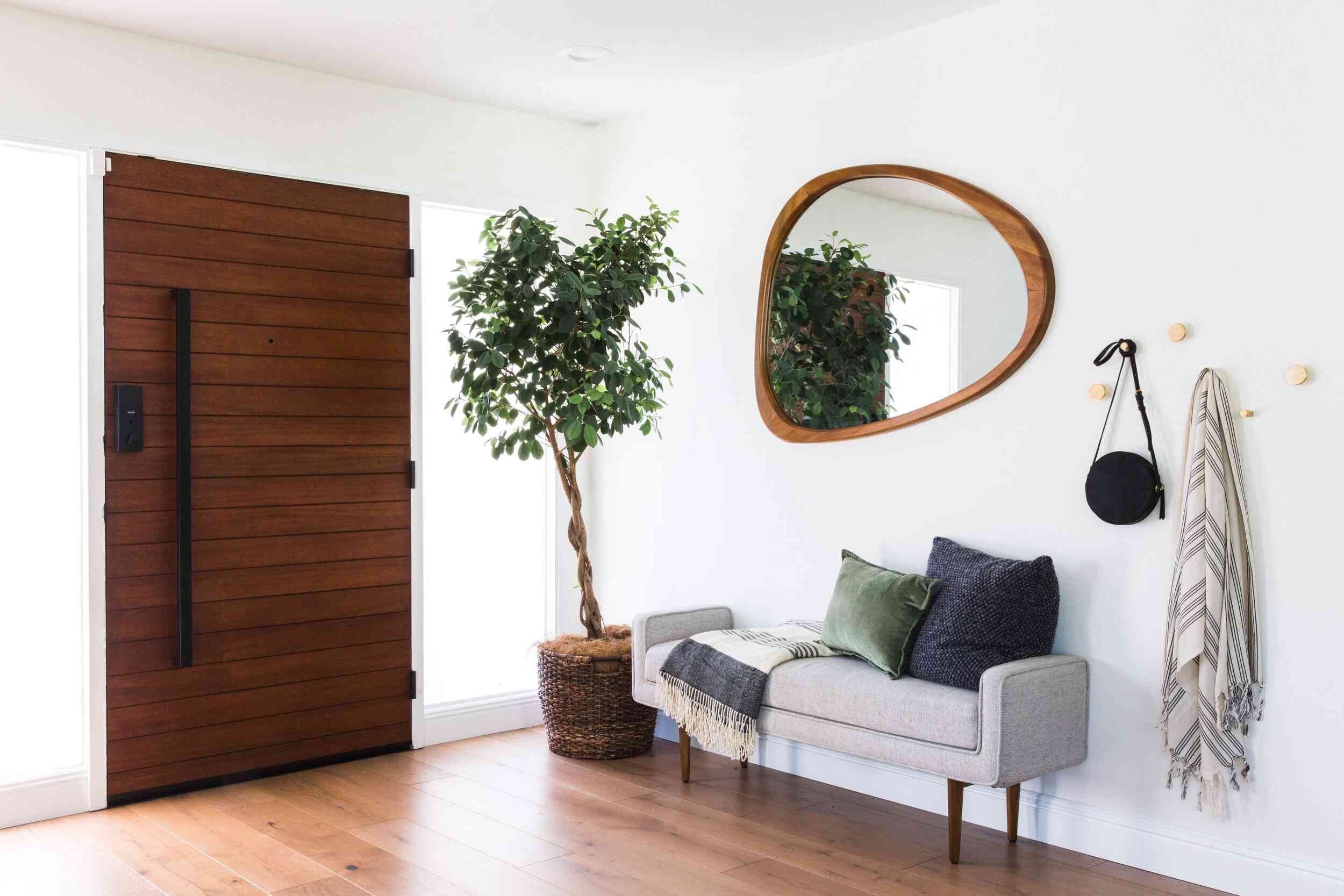Weeping fig in a modern entryway next to an upholstered bench