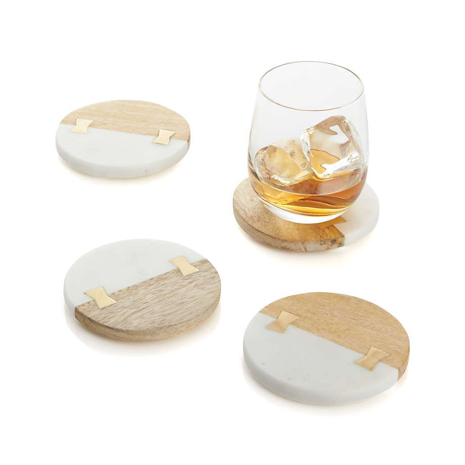 Wood and Marble Coasters