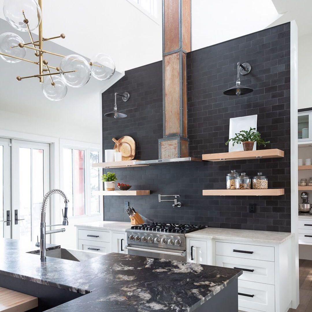 Black brick kitchen