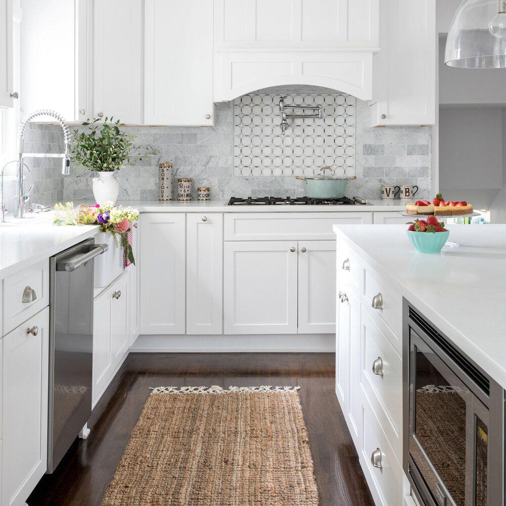 rattan kitchen rug in white kitchen