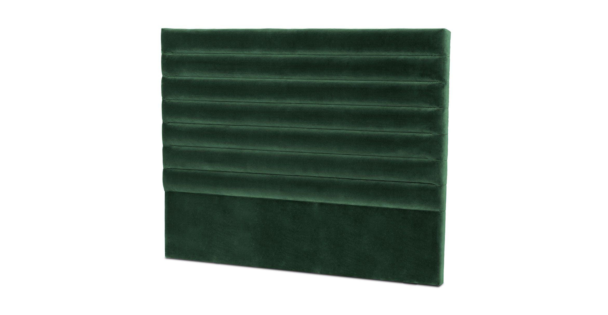 emerald green velvet headboard