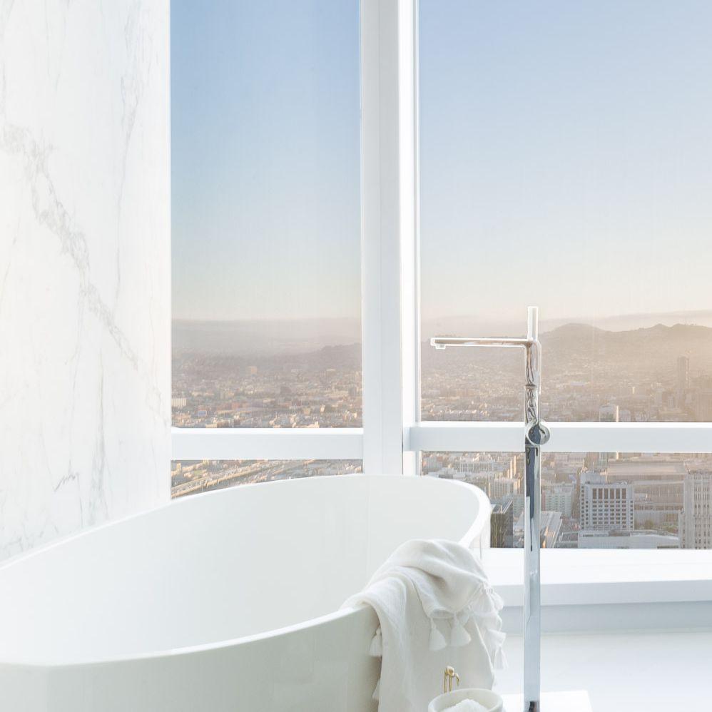 bathtub with views of san francisco bay