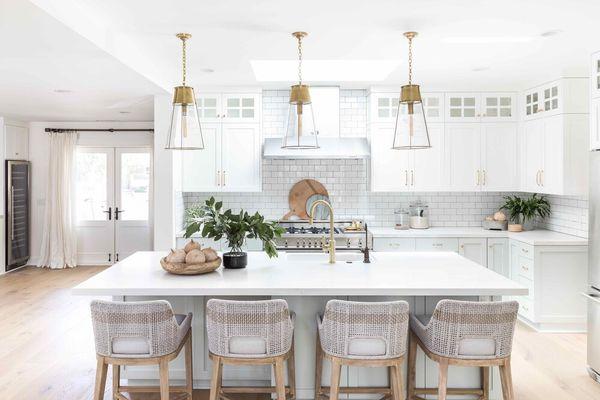 kitchen with white kitchen cabinets