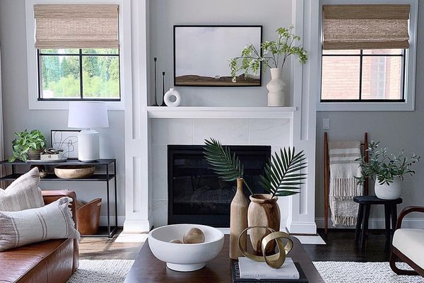 Muted living room design with neutral accents.