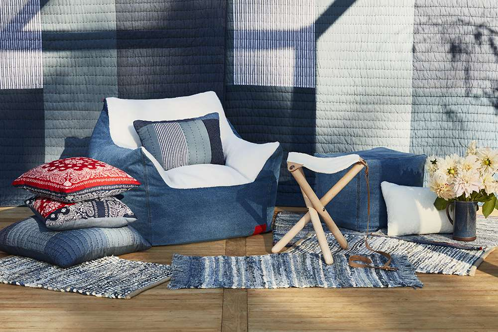 Pillows and rugs from Levis x Target collection.