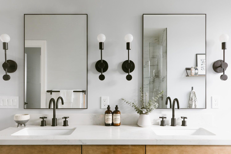 Modern bathroom with black fixtures
