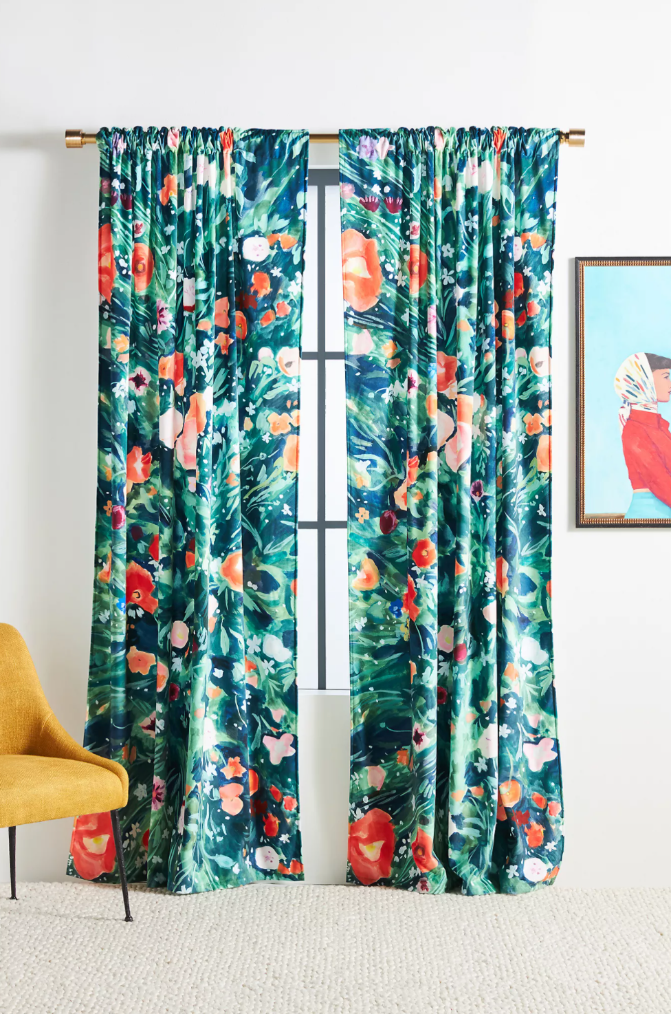 A set of floral curtains