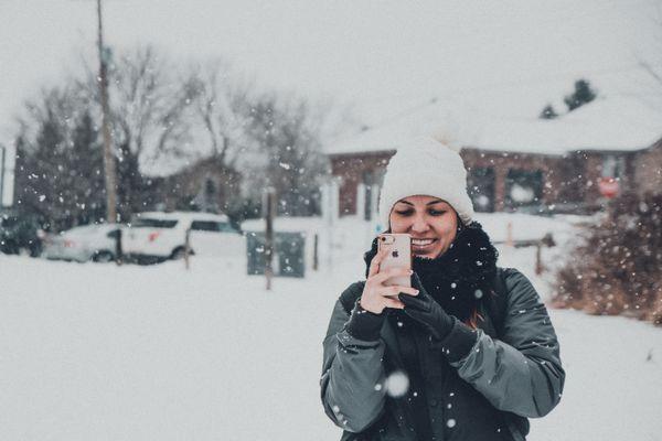 Woman outside in snow