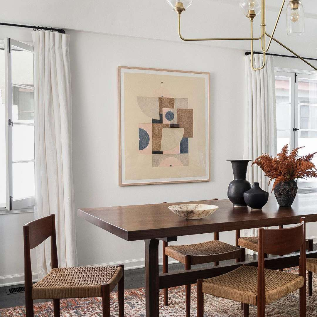 Wooden dining table in room