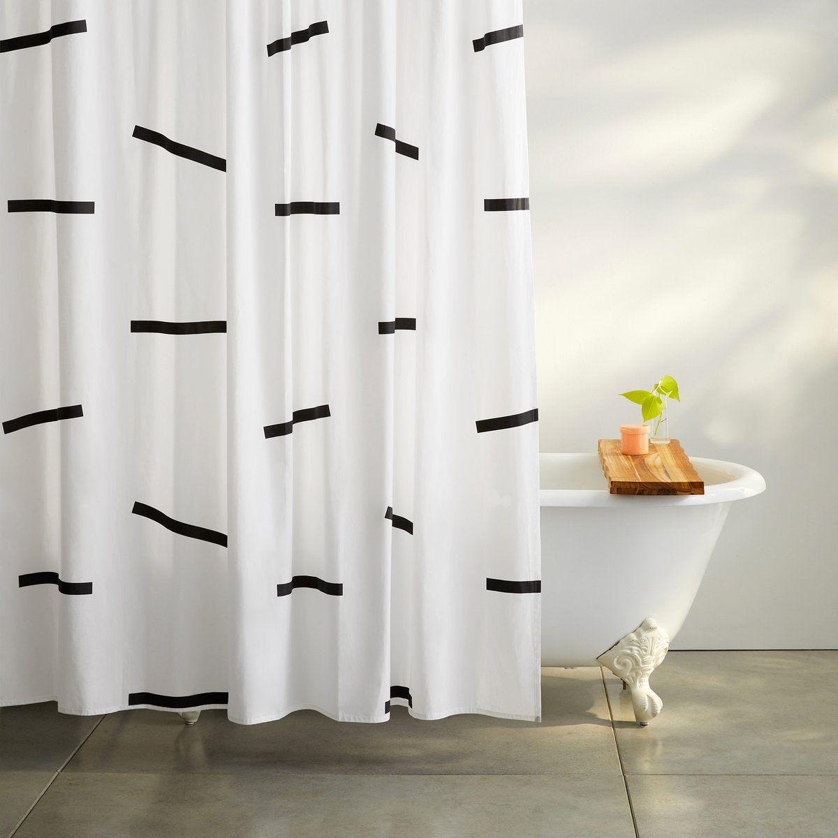 Brooklinen Black Dash Shower Curtain Set