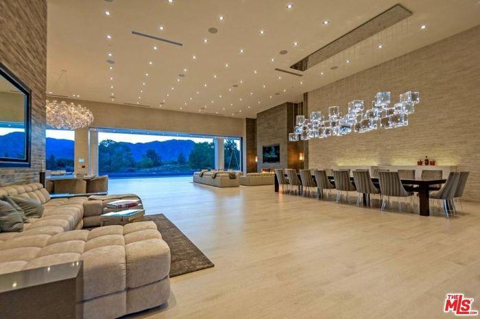 Kris Kardashian's neutral Palm Springs Living Room.