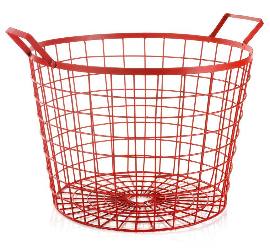 A vibrant red wire basket