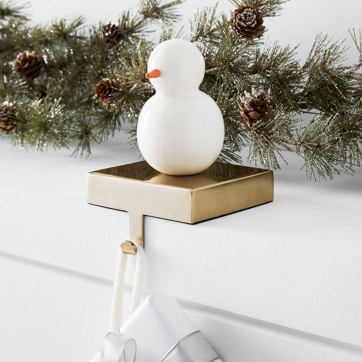 Enamel Snowman Stocking Holder