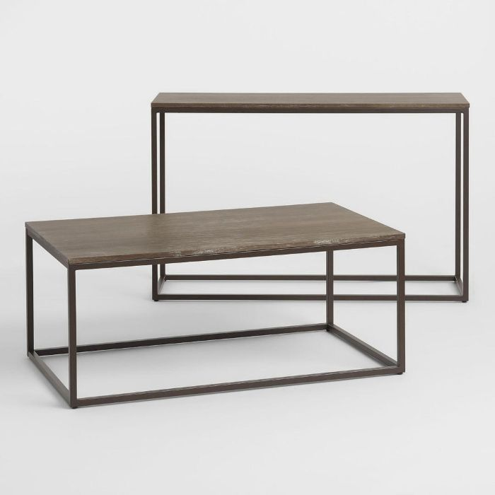 Graywash Wood and Metal Keenan Table Collection by World Market