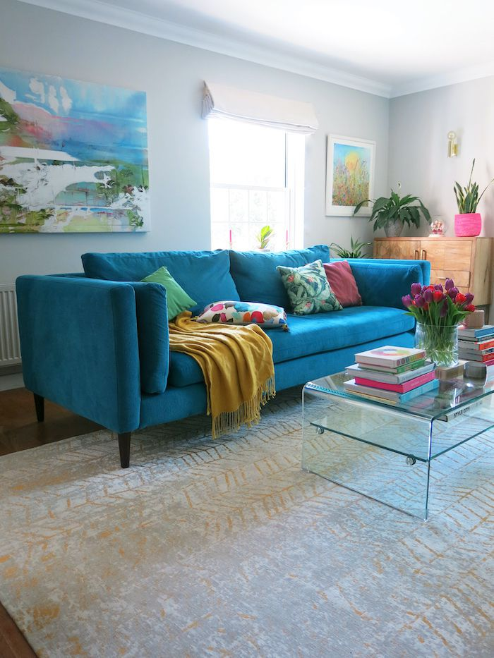 colorful living room, teal sofa