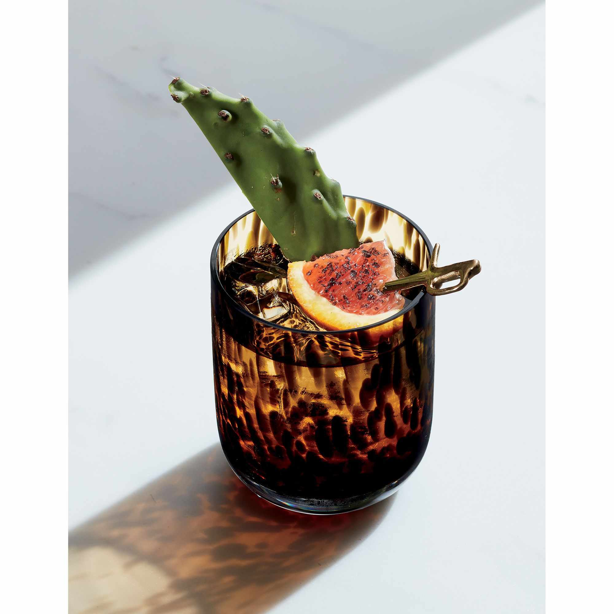 A tortoise shell patterned double old fashioned glass with cactus and a spiced orange garnish.