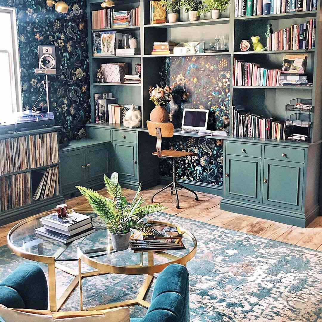 Office with bookshelves