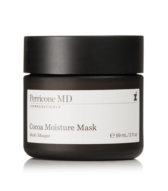 A 2ox black container full of Perricone MD Cocoa Moisture Mask with a white label.