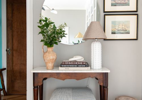 Entryway table and mirror.
