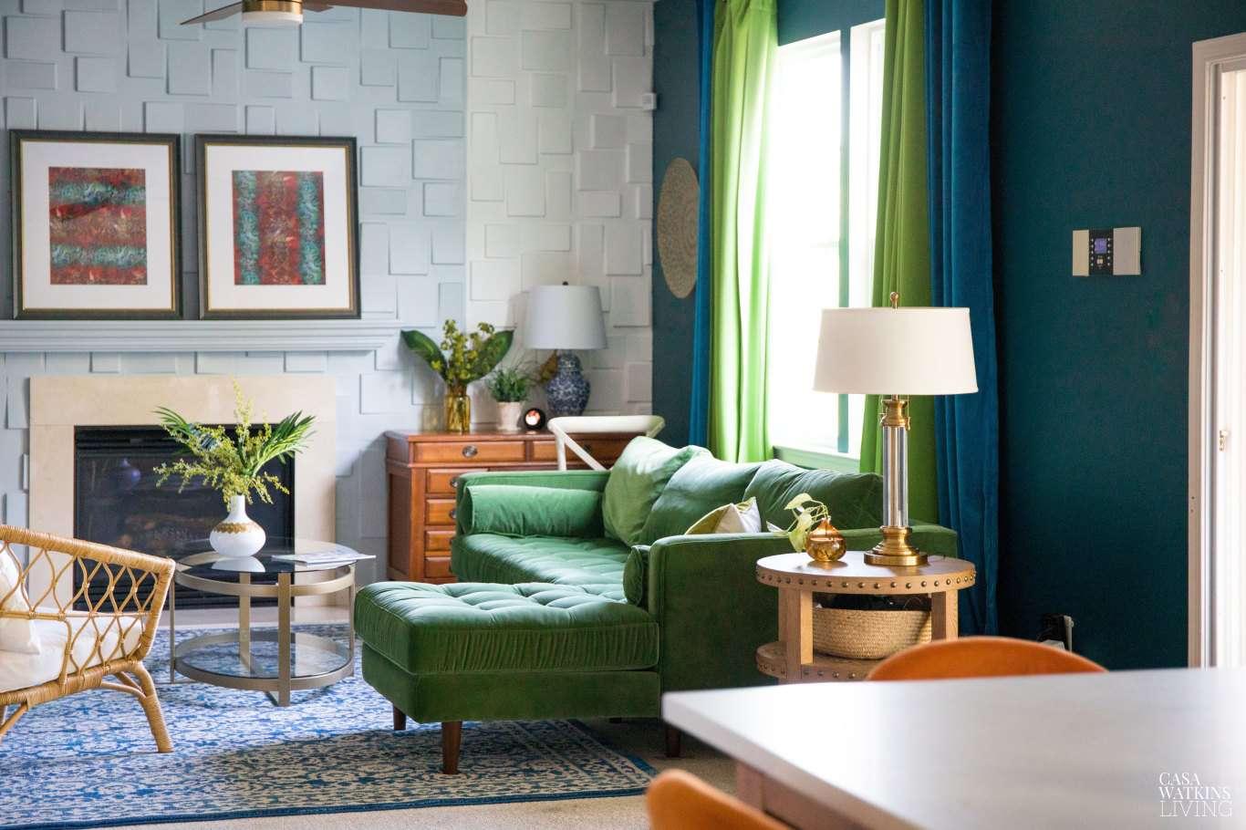 best living room ideas- emerald green velvet sofa in bohemian living room