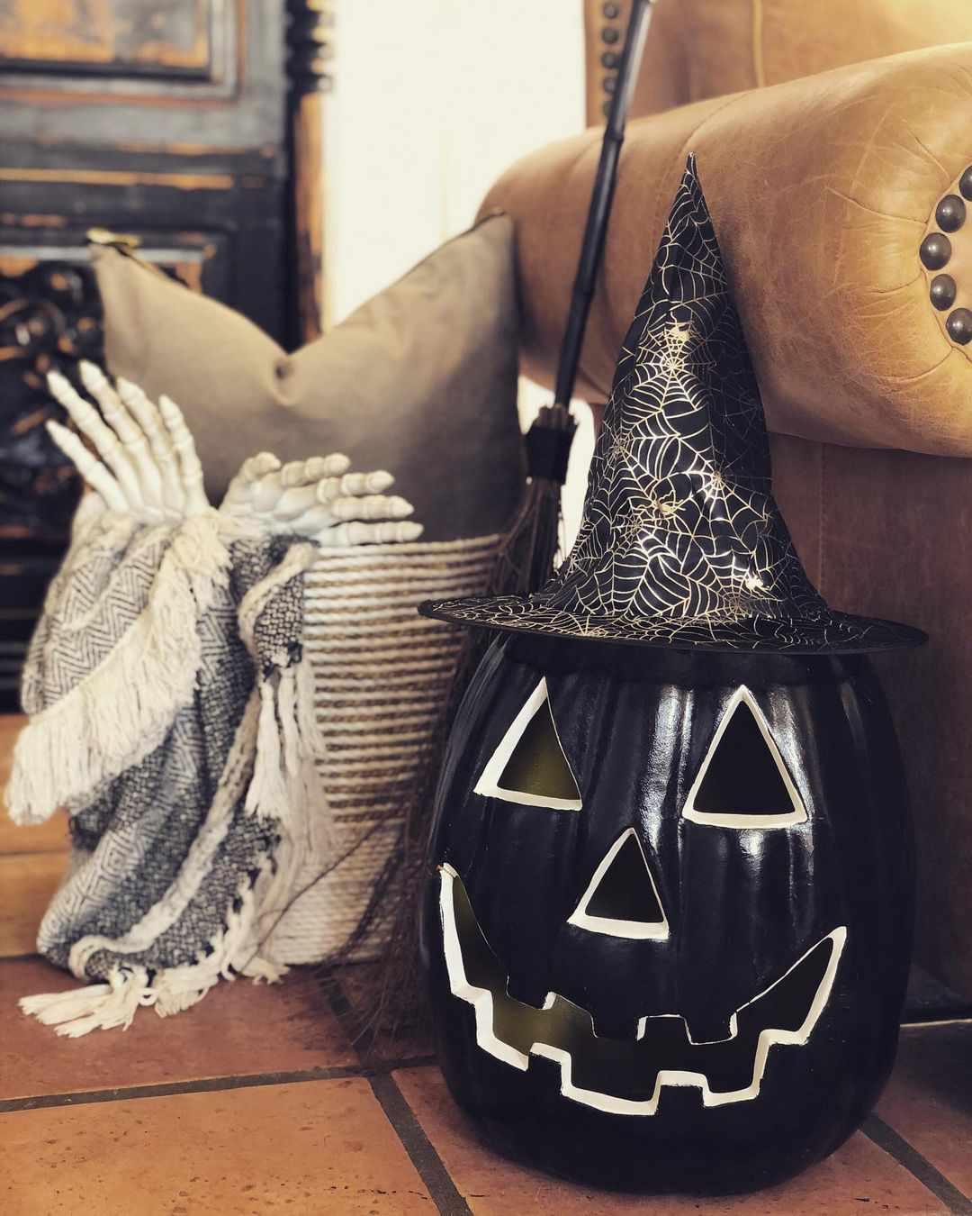 pumpkin with black paint