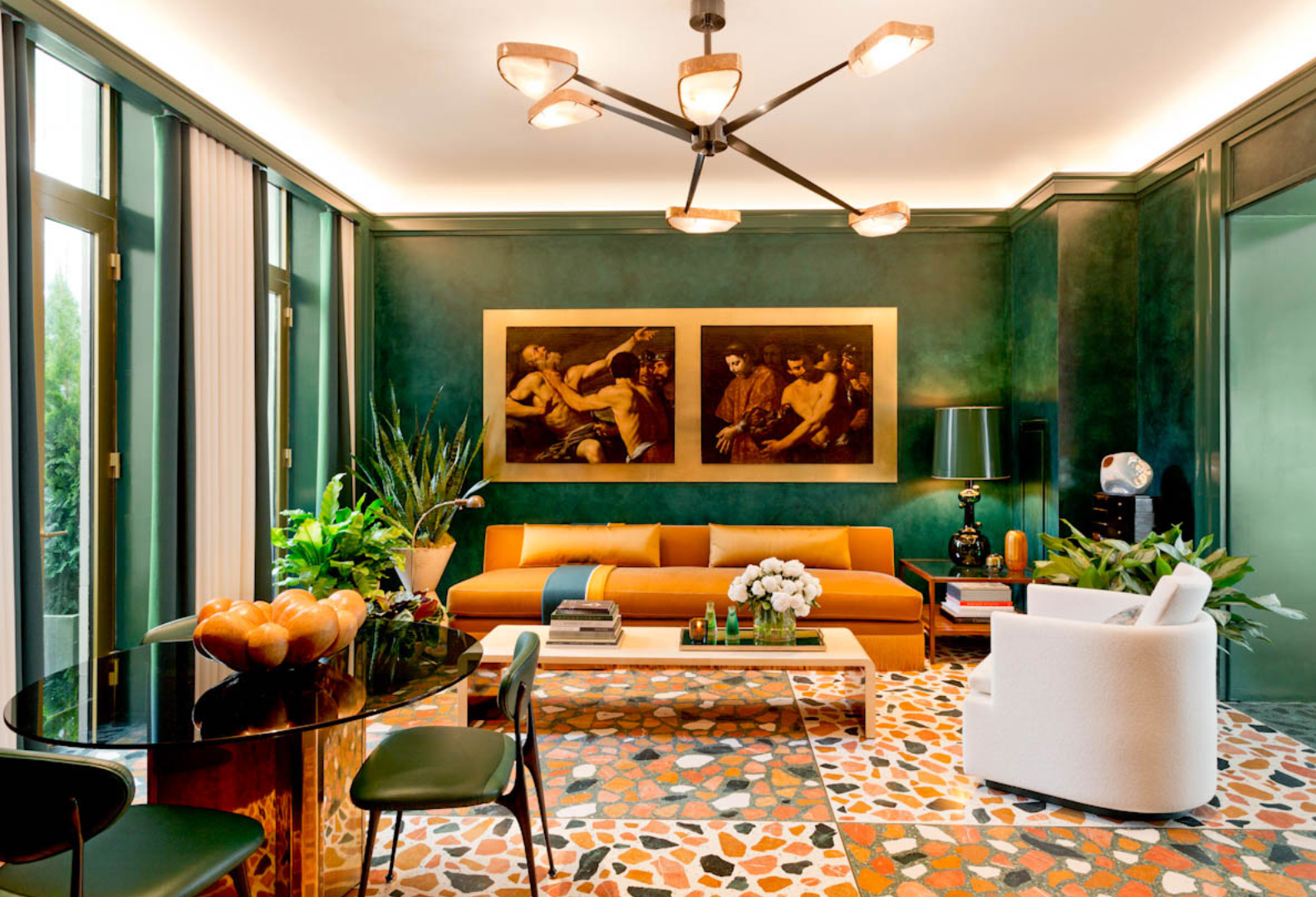 Living room with green walls