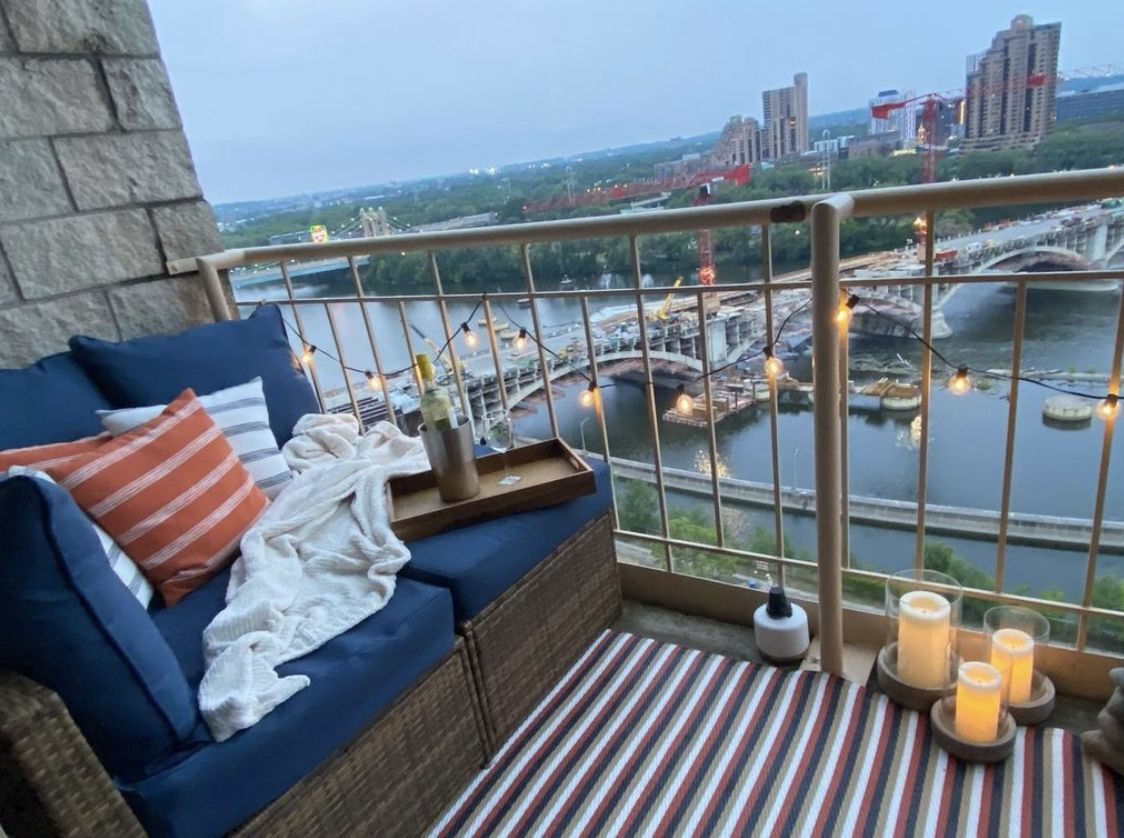 balcony overlooking city river view