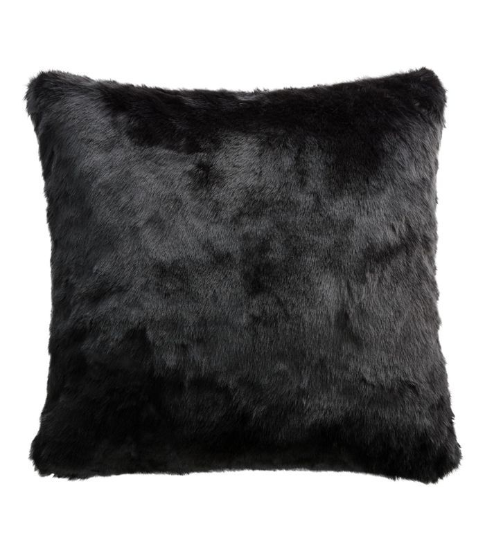 CB2 Black Faux Fur Pillow