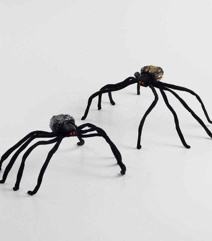 Black Fabric Spider Decor Set of 2 by World Market