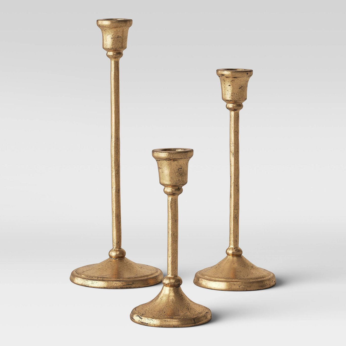 Aluminum Taper Candle Holders Gold -