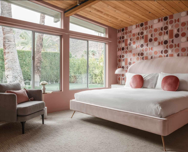 monochromatic pink bedroom