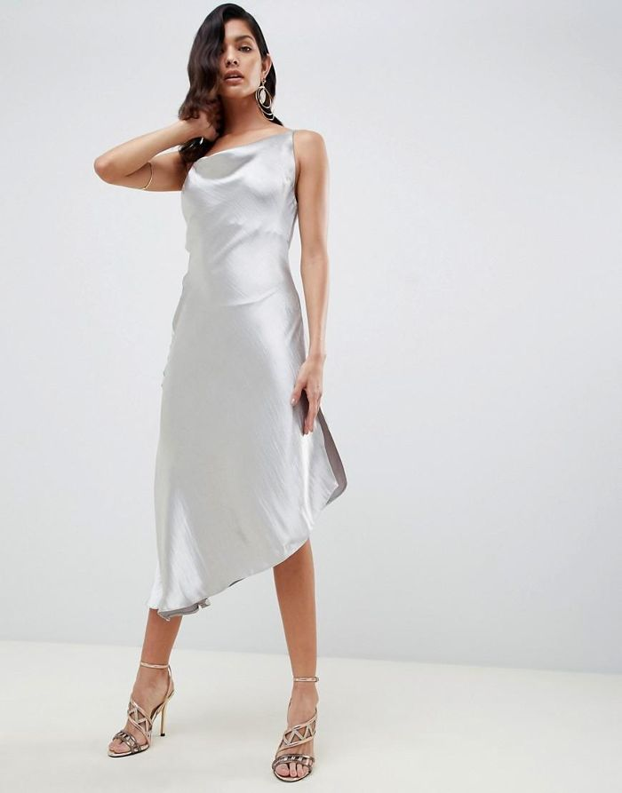 midi slip dress in high shine satin