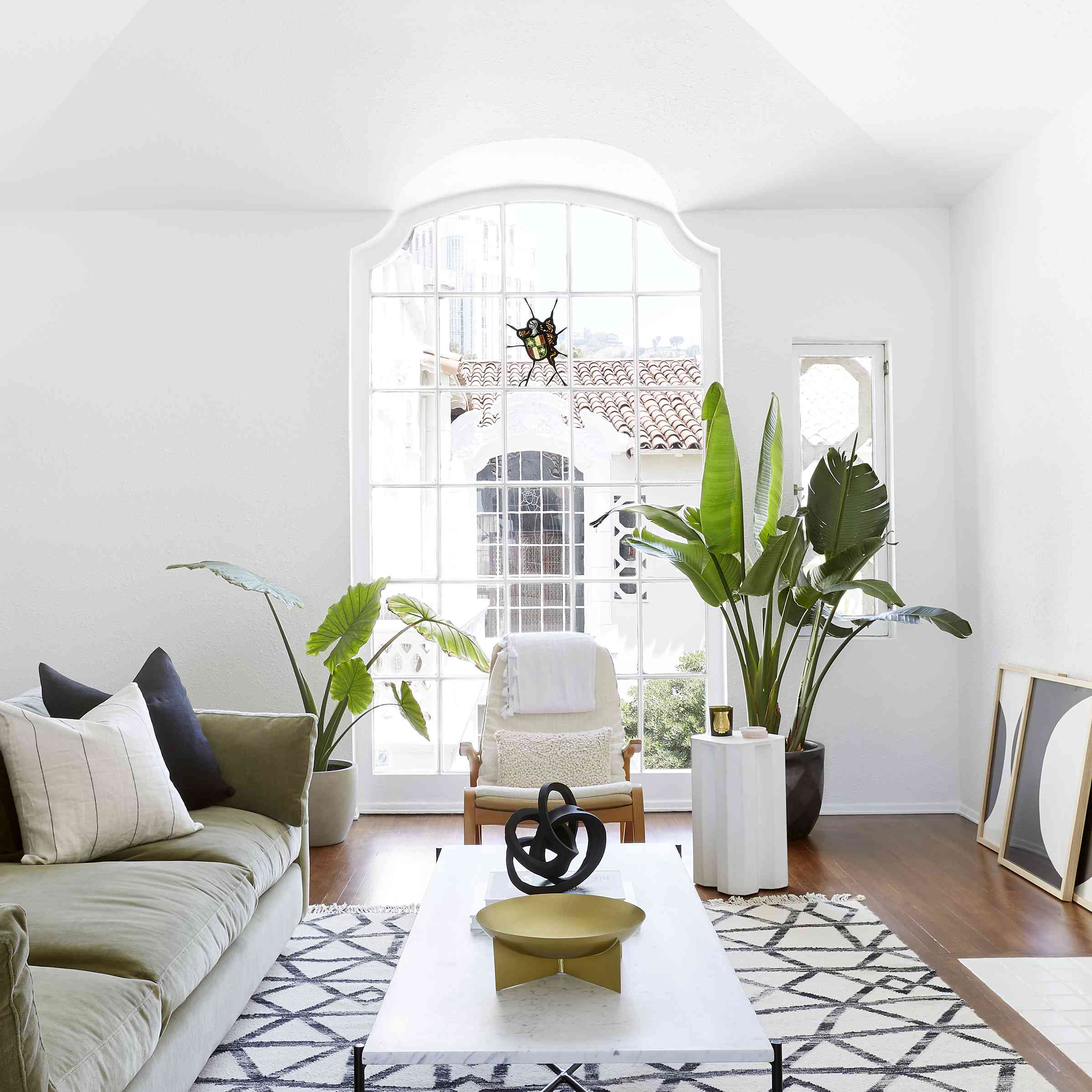 living room with spanish-inspired architectural details
