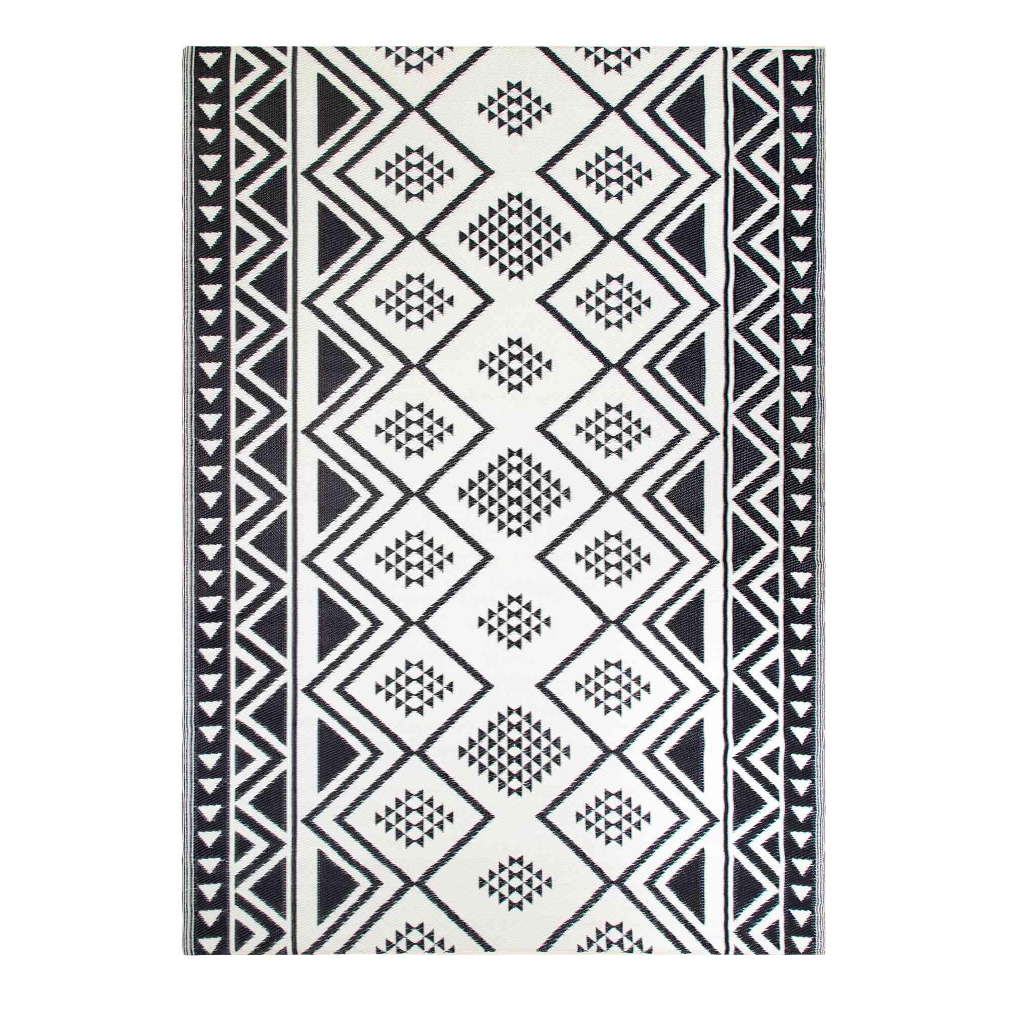 Black Moroccan Style Reversible Indoor Outdoor Rio Floor Mat