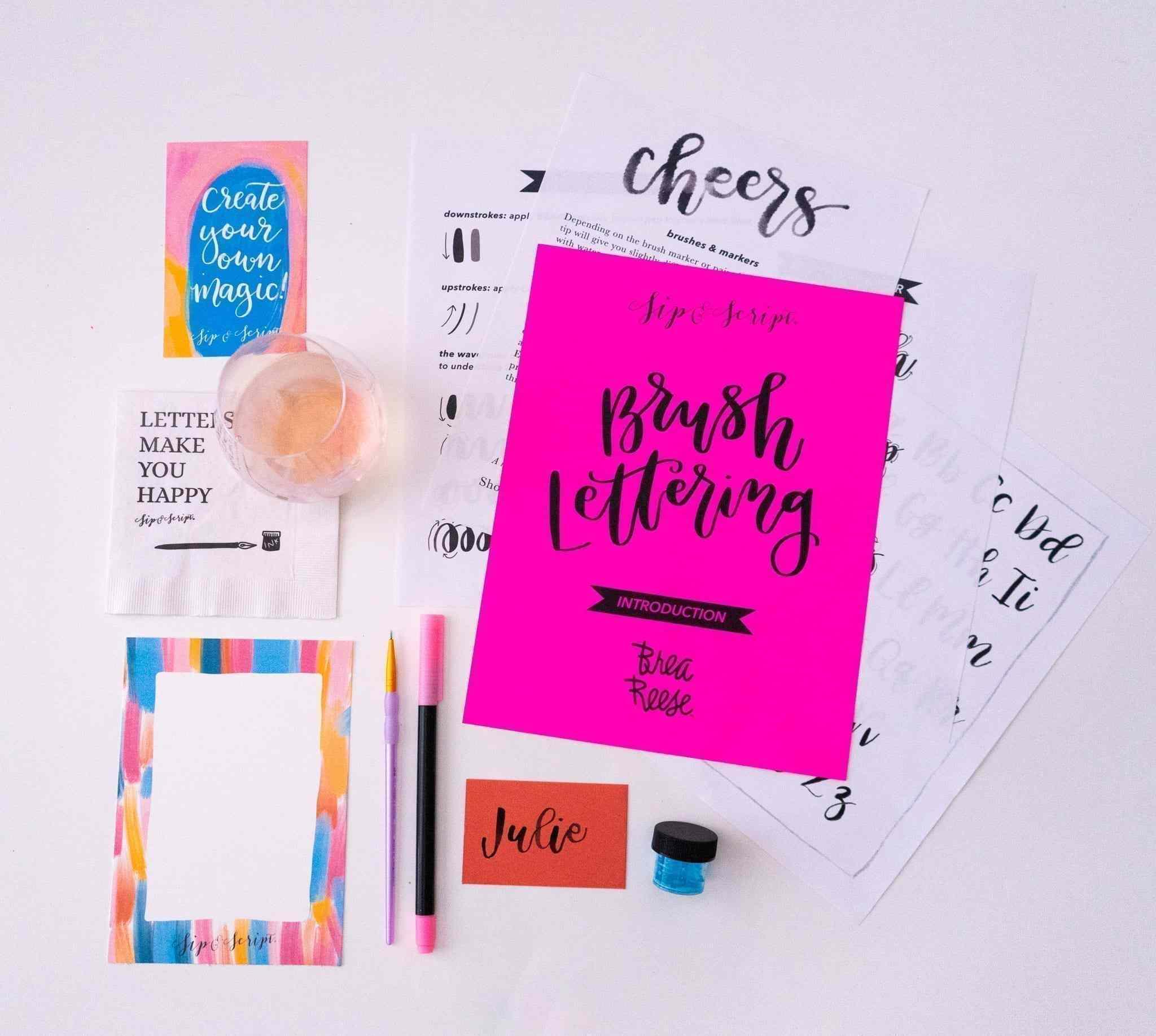Sip and Script Brush Lettering Beginner Kit