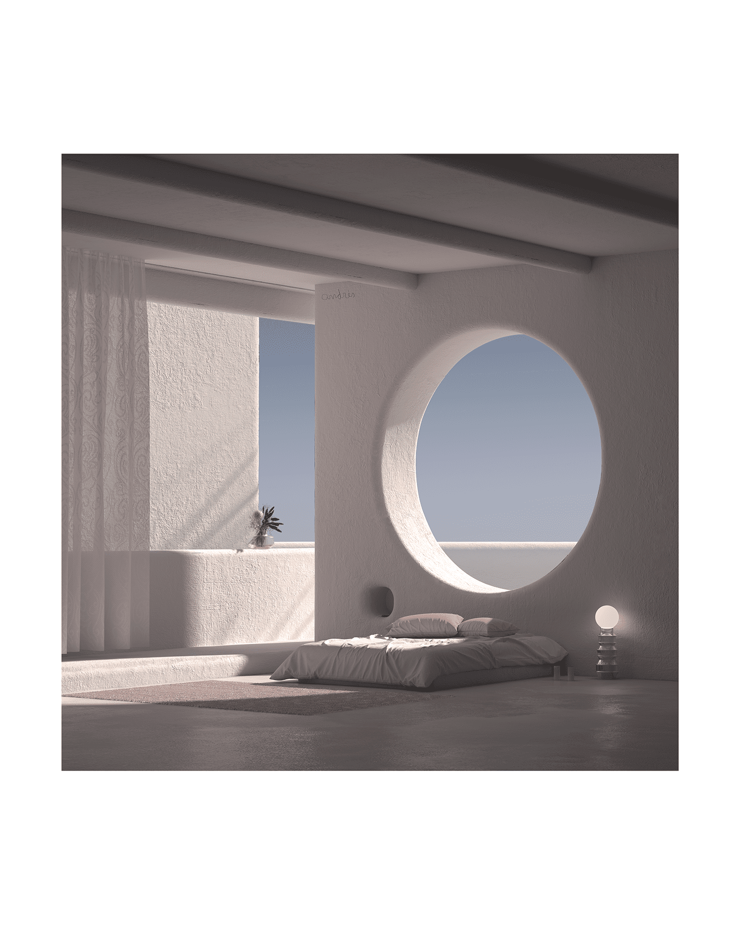 Photo of an open room with a bed on the floor and large circular window.