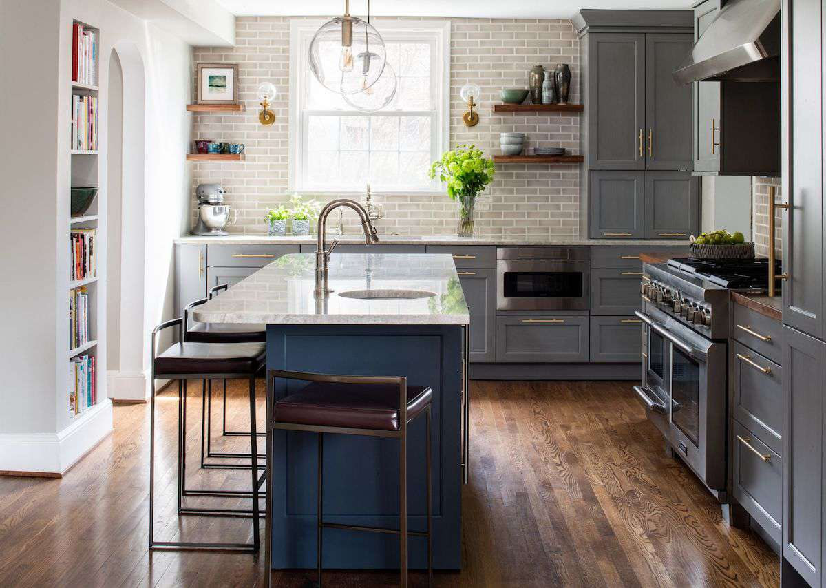 Gray kitchen with blue island